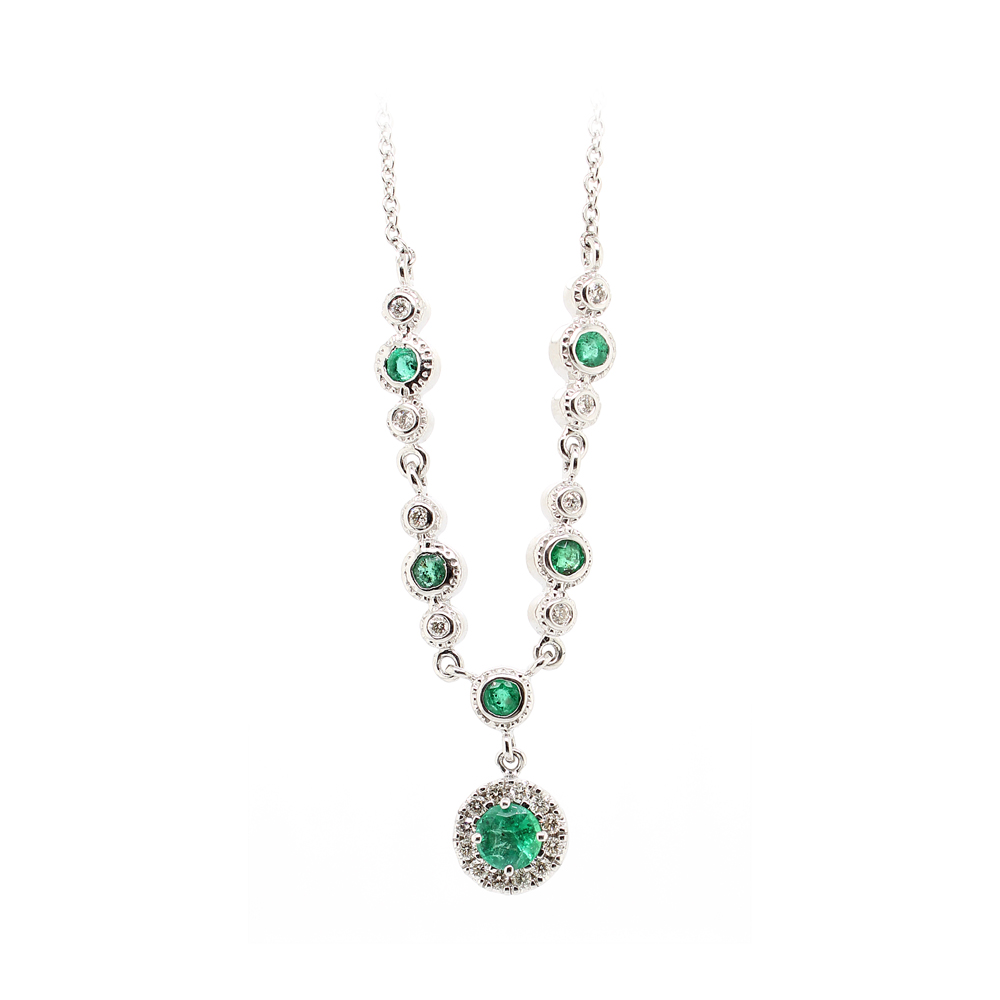 Ryan Gems 14 Karat White Gold Emerald and Diamond Lariat Necklace