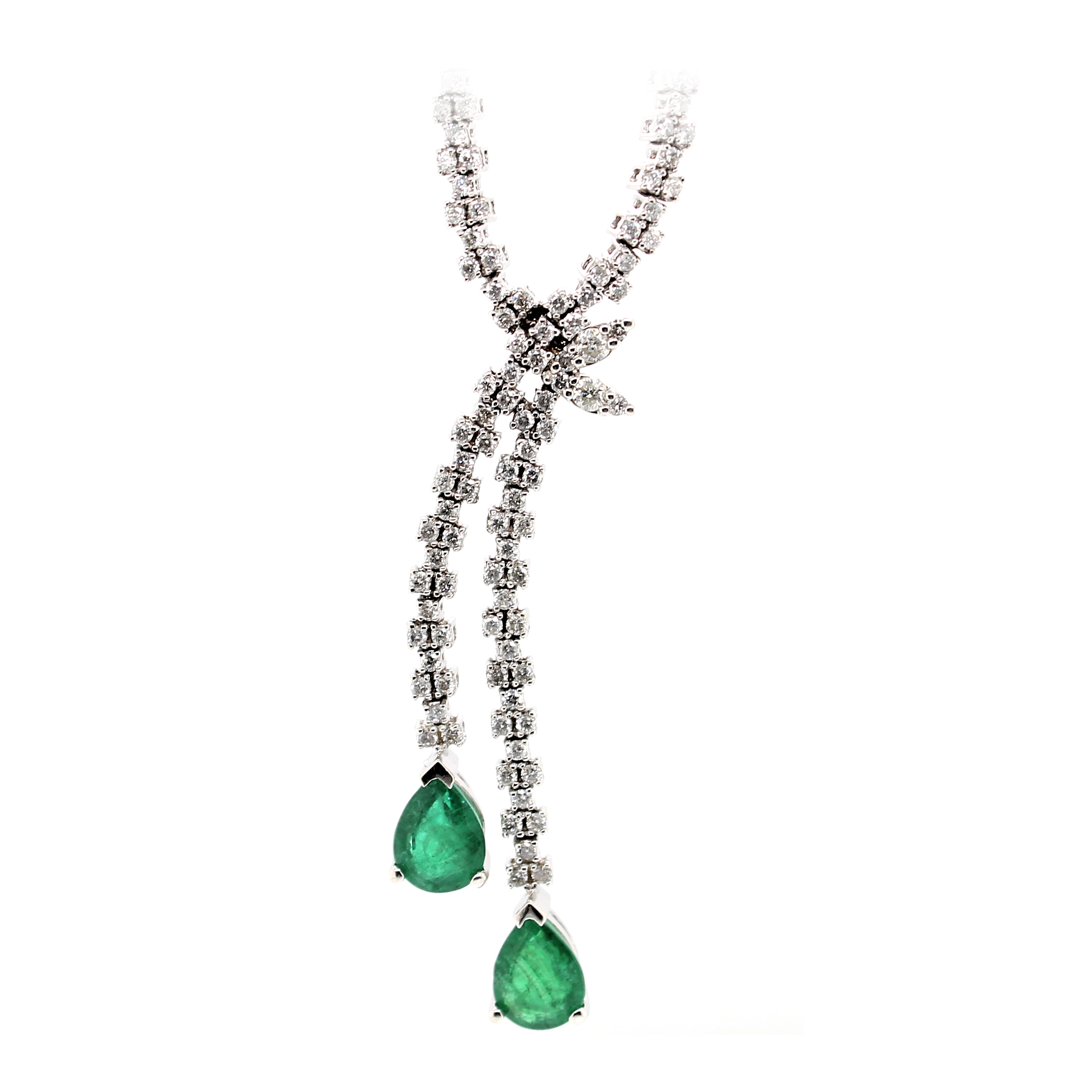 14 Karat White Gold Emerald and Diamond Necklace
