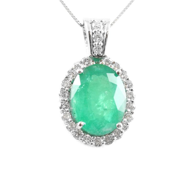 14 Karat white gold emerald and diamond pendant mounting.