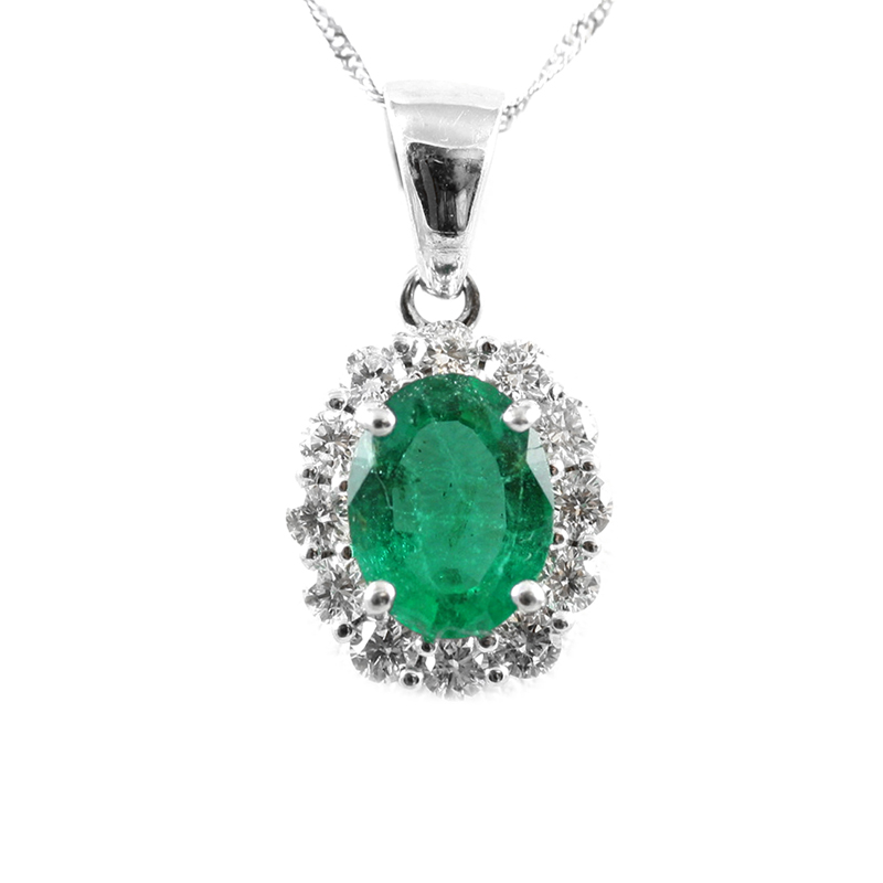 14 Karat white gold diamond and emerald pendant .