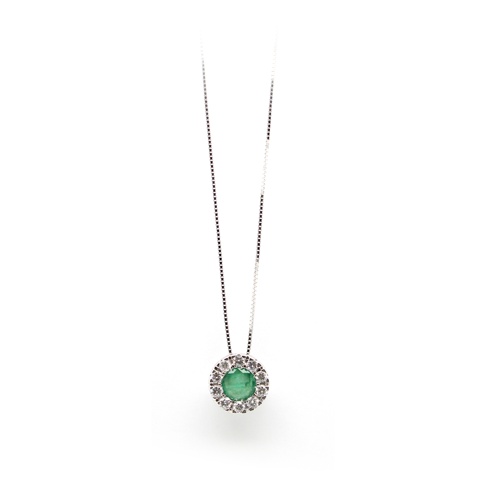 Paramount Gems 14 Karat White Gold Emerald and Diamond Circle Pendant Necklace