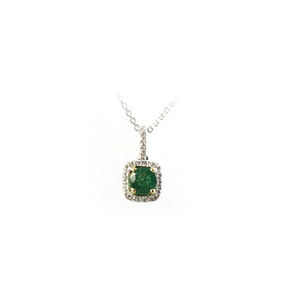 18 Karat White Gold Emerald and Diamond Square Pendant Necklace