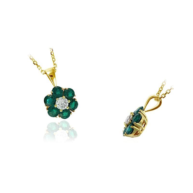 Ryan Gems 14 Karat Yellow Gold Emerald and Diamond Pendant Necklace
