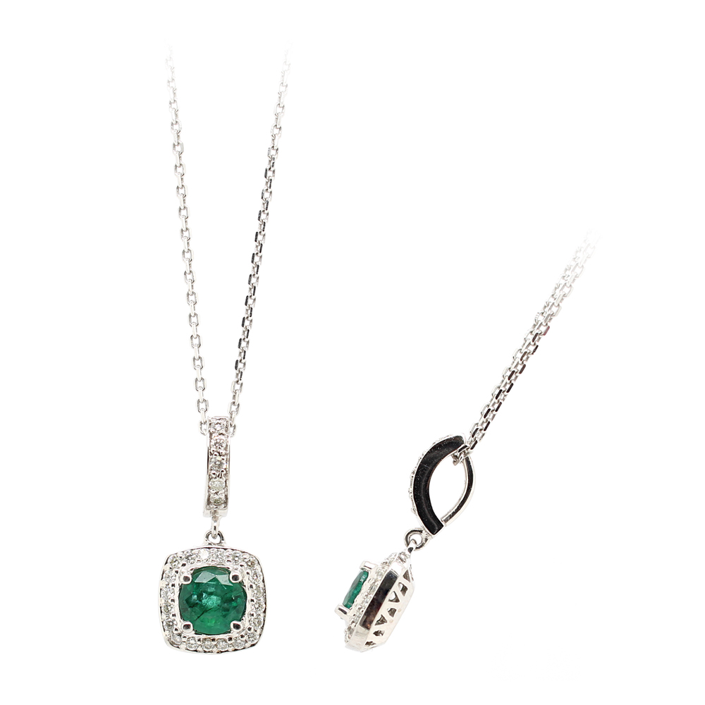 Ryan Gems 14 Karat White Gold Emerald and Diamond Pendant Necklace