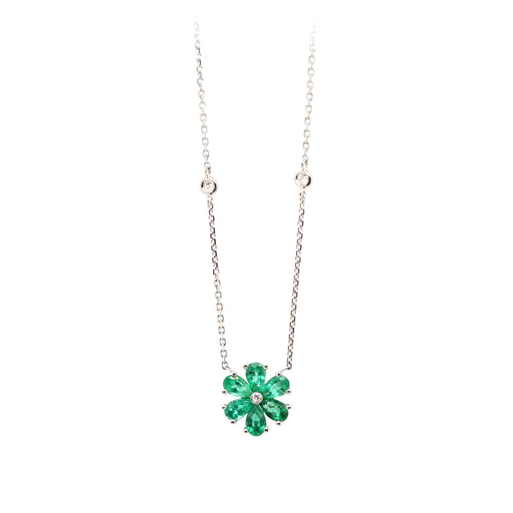 Ryan Gems 14 Karat White Gold Emerald and Diamond Necklace