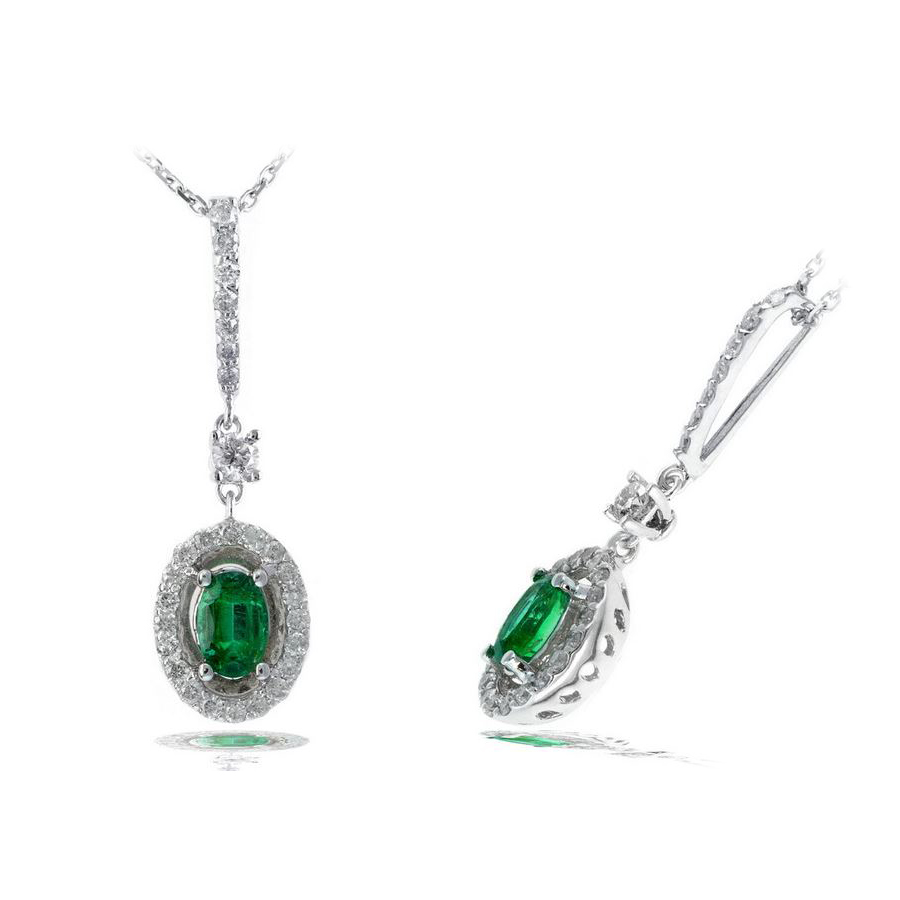 Ryan Gems 14 Karat White Gold Oval Emerald and Diamond Pendant Necklace