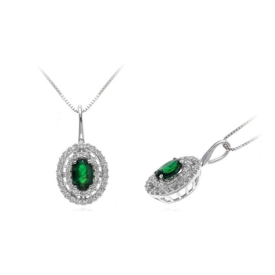 Ryan Gems 14 Karat White Gold Oval Emerald and Diamond Pendant Necklace