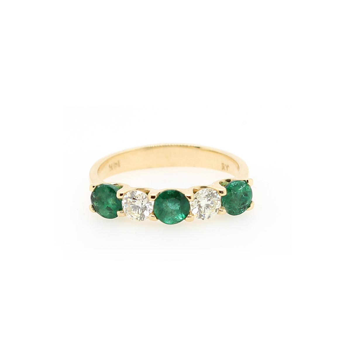 Ryan Gems 14 Karat Yellow  Gold Emerald and Diamond Band