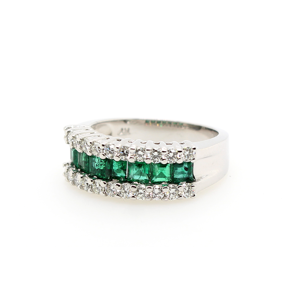 Ryan Gems 14 Karat White Gold Square Cut Emerald and Diamond Band