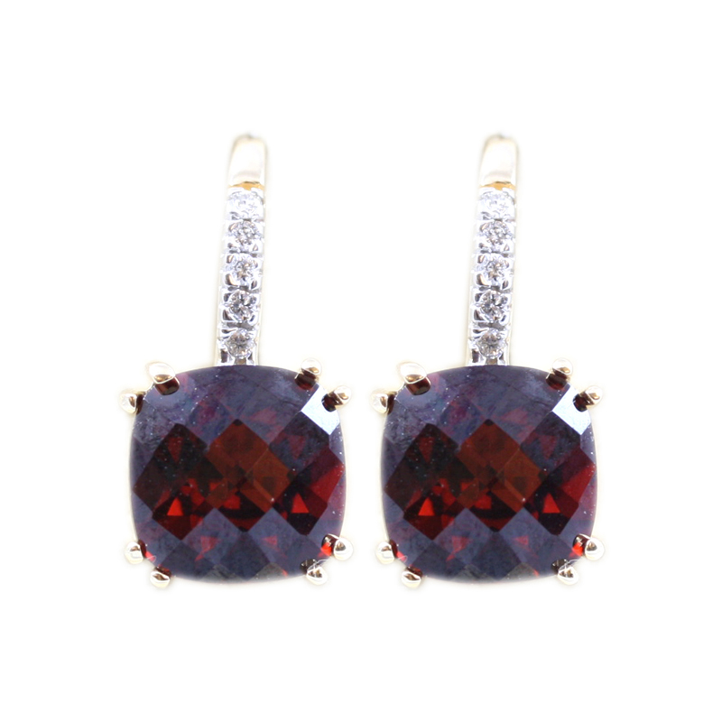 14 karat yellow gold diamond and garnet earrings on leverback.
