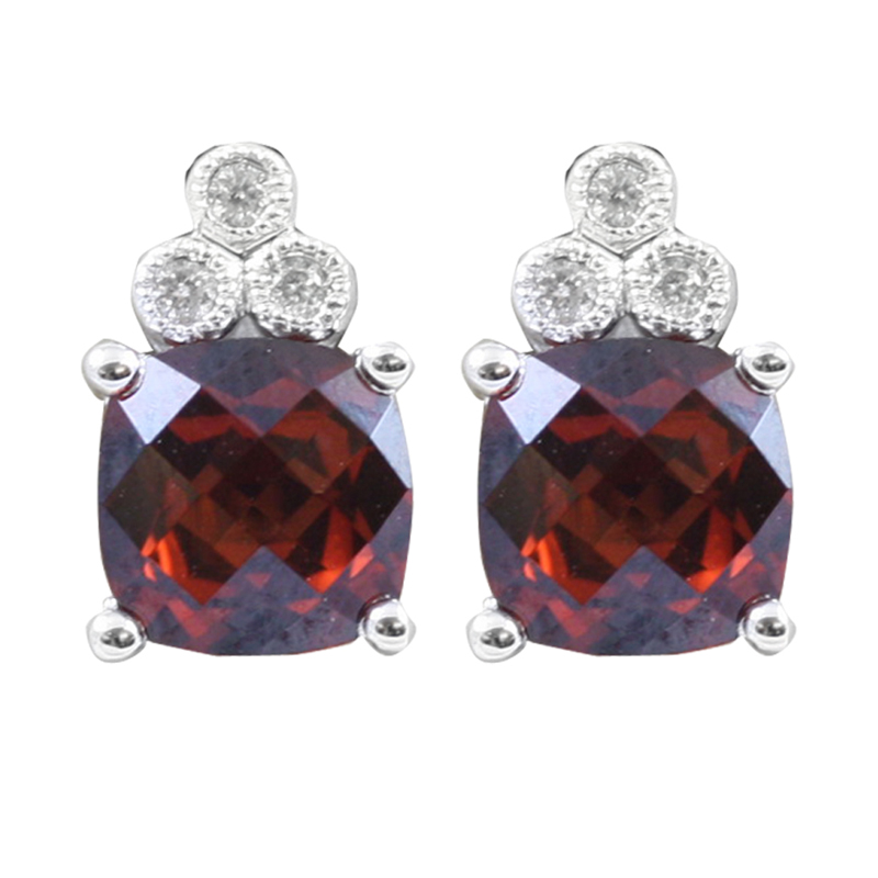 14 karat white gold diamond and garnet earrings