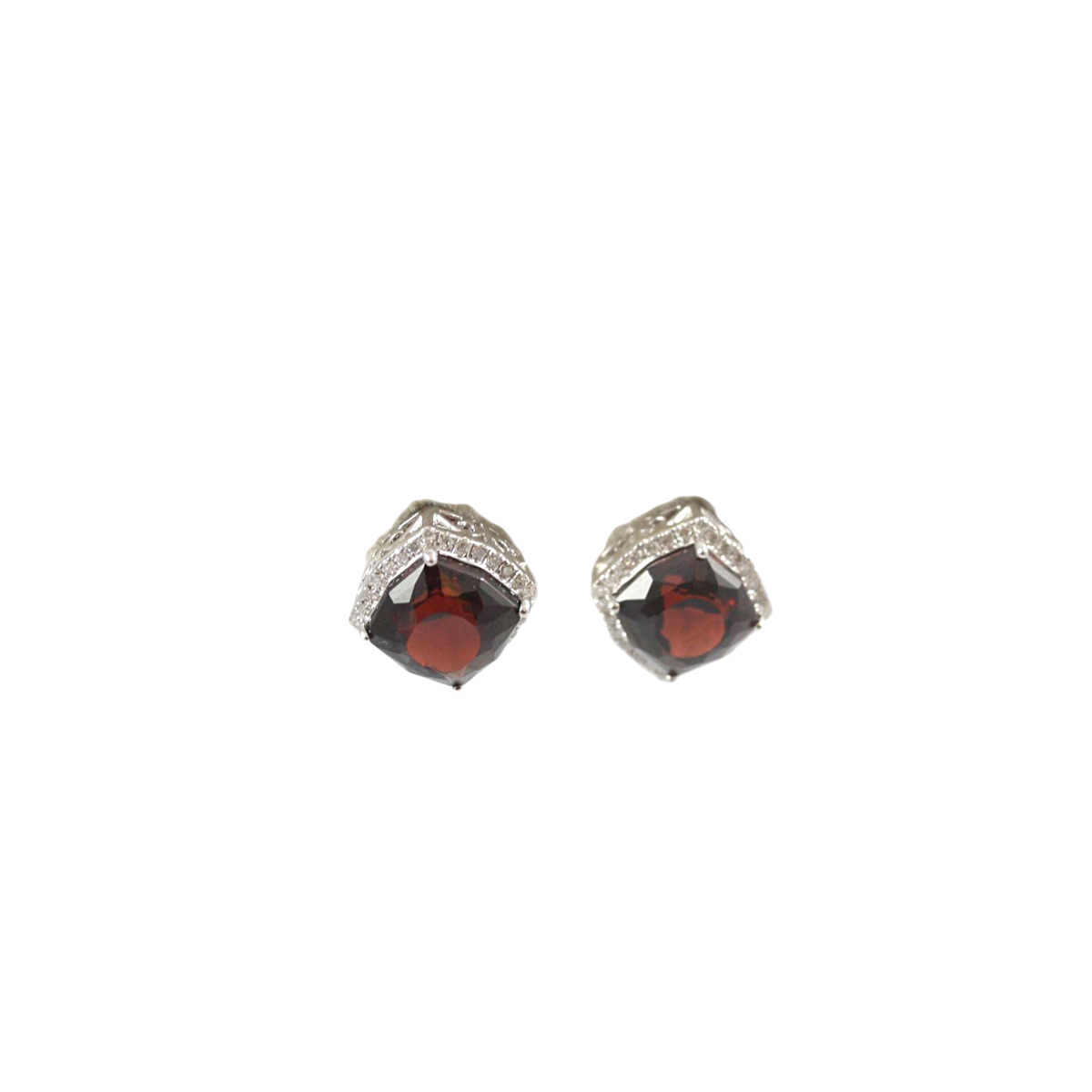 14 Karat White Gold Modified Radiant Garnet and Diamond Earrings