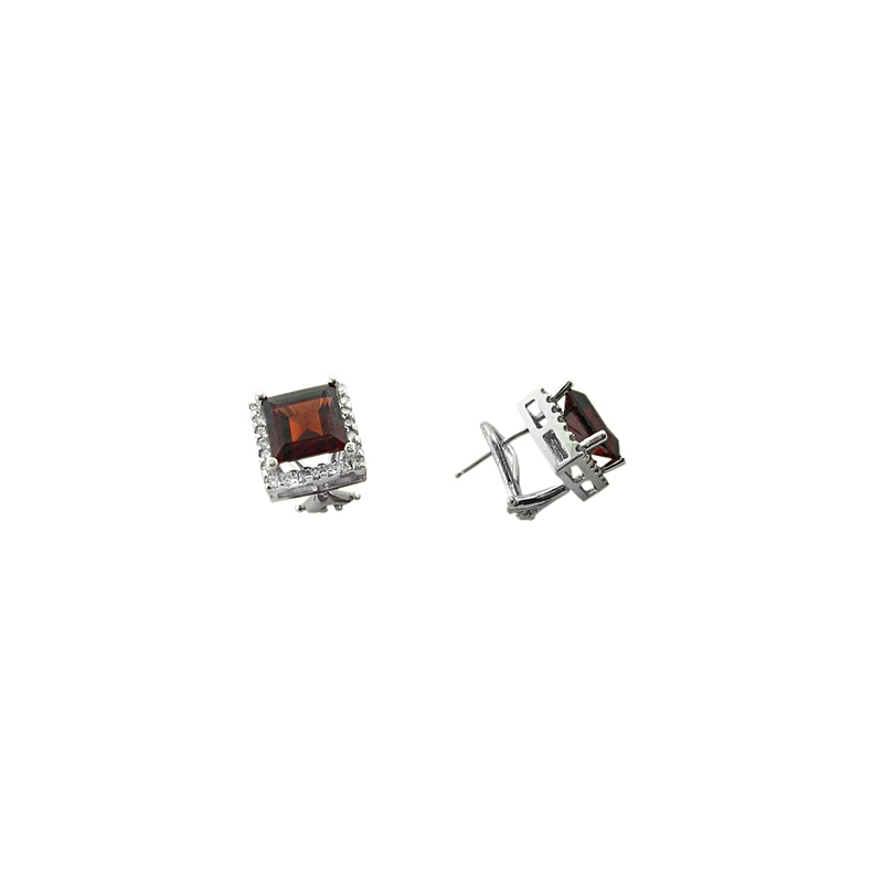 Ryan Gems 14 Karat Yellow Gold Square Garnet and Diamond Earrings
