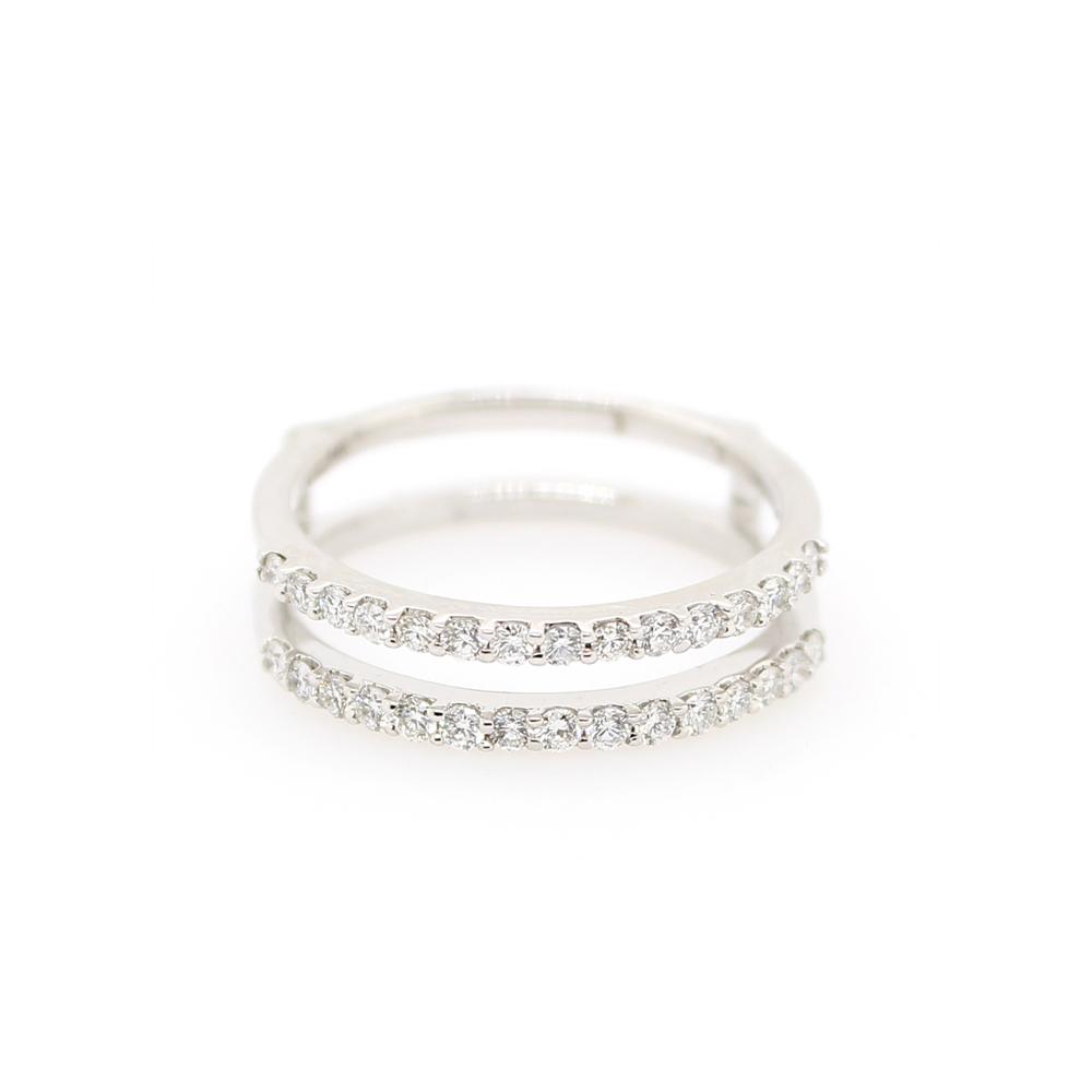 Shefi Diamonds 14 Karat White Gold Two Row Diamond Ring Jacket