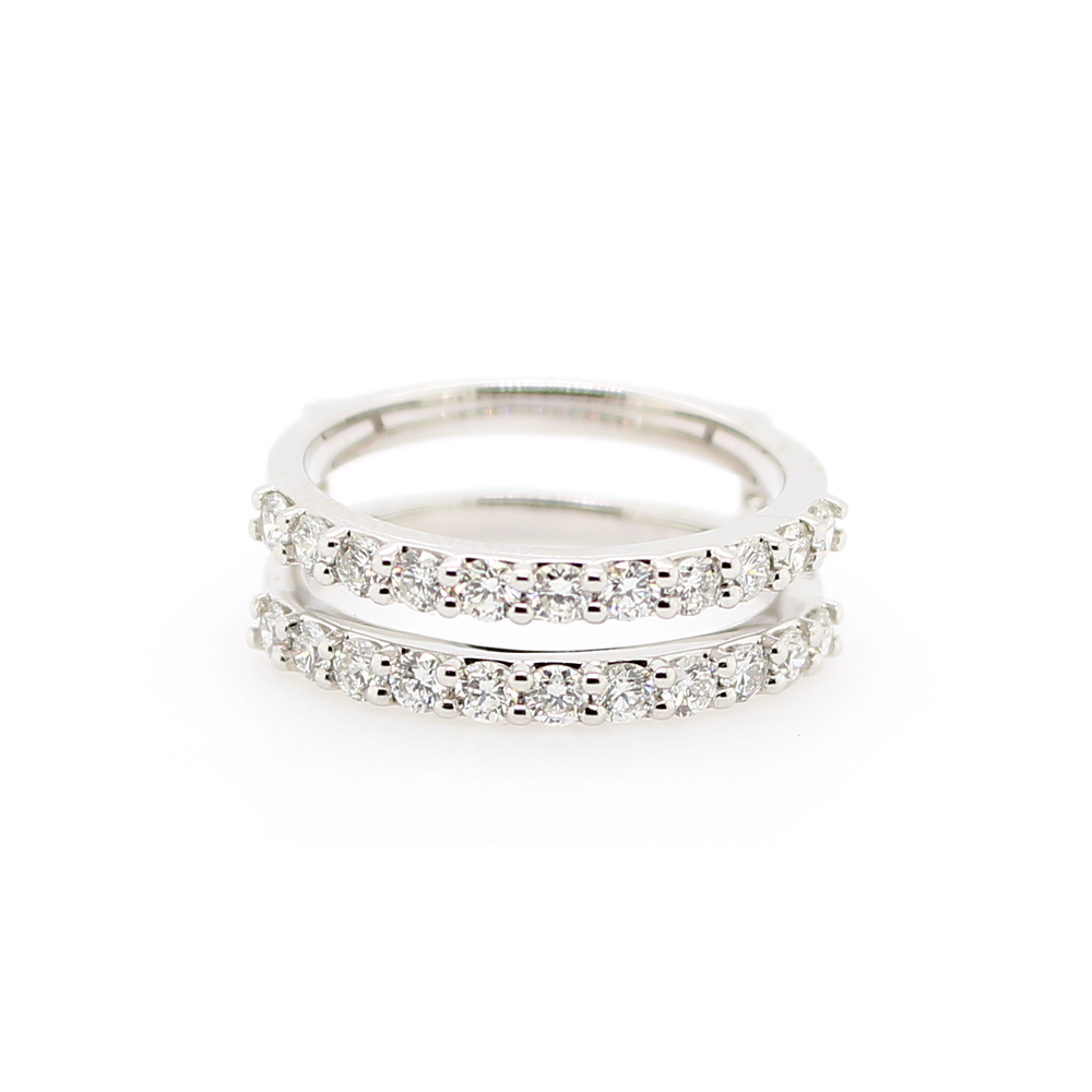 Shefi Diamonds 14 Karat White Gold Diamond Ring Guard