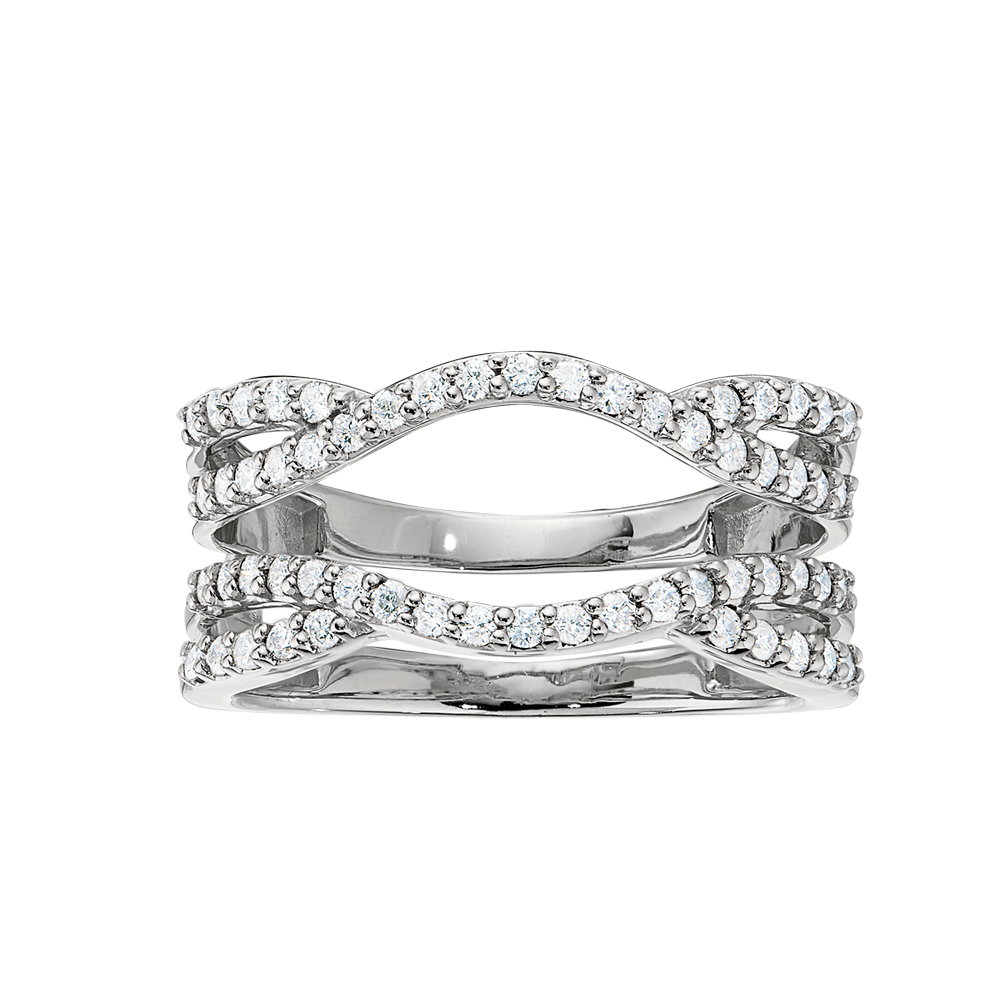 Shefi Diamonds 14 Karat White Gold Curved Criss Cross Ring Jacket (.5 Carat)