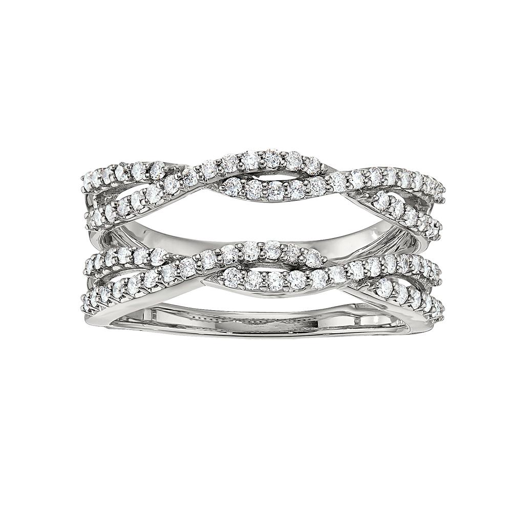 Shefi Diamonds 14 Karat White Gold Diamond Criss Cross Ring Jacket (.5 Carat)