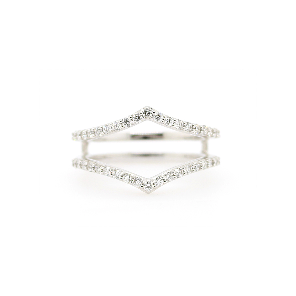 Shefi Diamonds 14 Karat White Gold Diamond Sharp Curve Ring Jacket