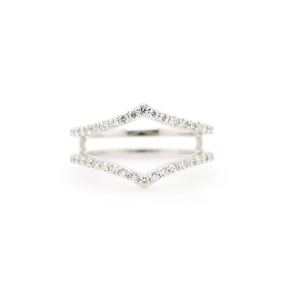 Shefi Diamonds 14 Karat White Gold Diamond Sharp Curve Ring Jacket