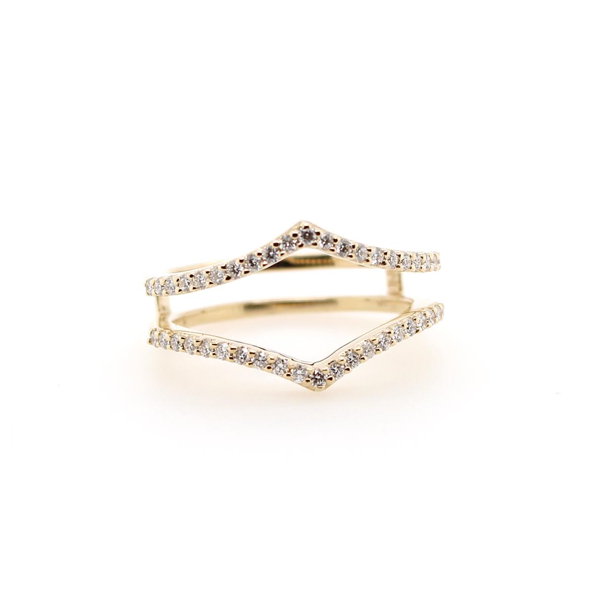Shefi Diamonds 14 Karat Yellow Gold .33 Carat Diamond Sharp Curve Ring Jacket