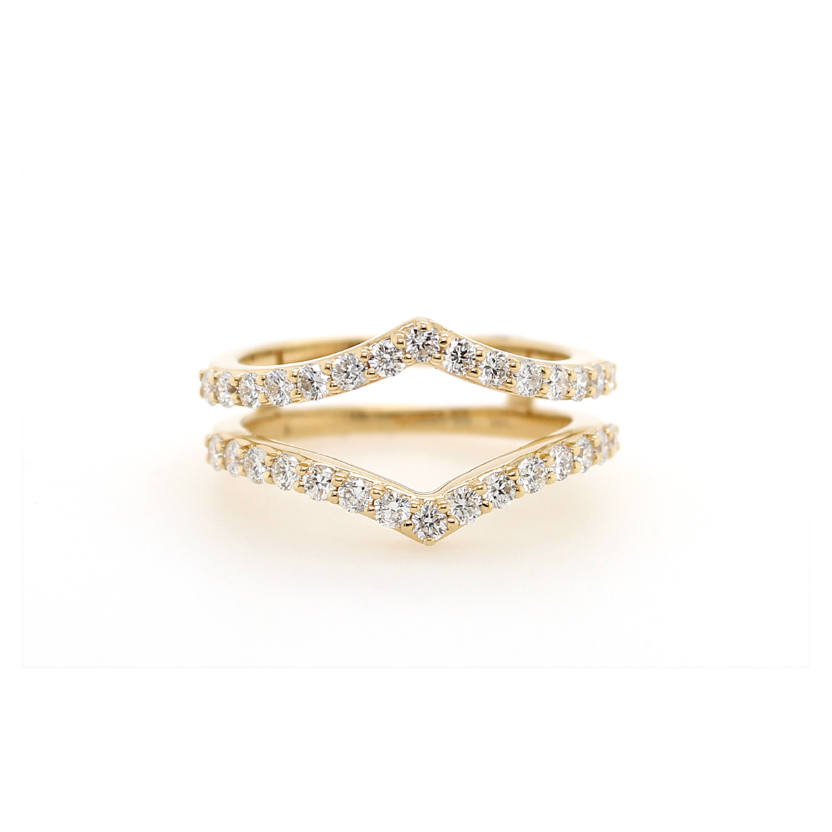 Shefi Diamonds 14 Karat Yellow Gold .75 Carat Diamond Sharp Curve Ring Jacket