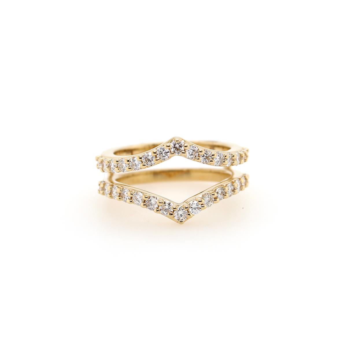 Shefi Diamonds 14 Karat Yellow Gold 1 Carat Diamond Sharp Curve Ring Jacket