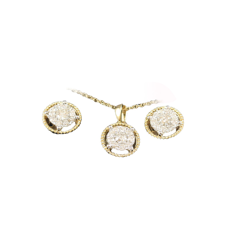 14 Karat Two Tone Diamond Earring and Pendant Necklace Set