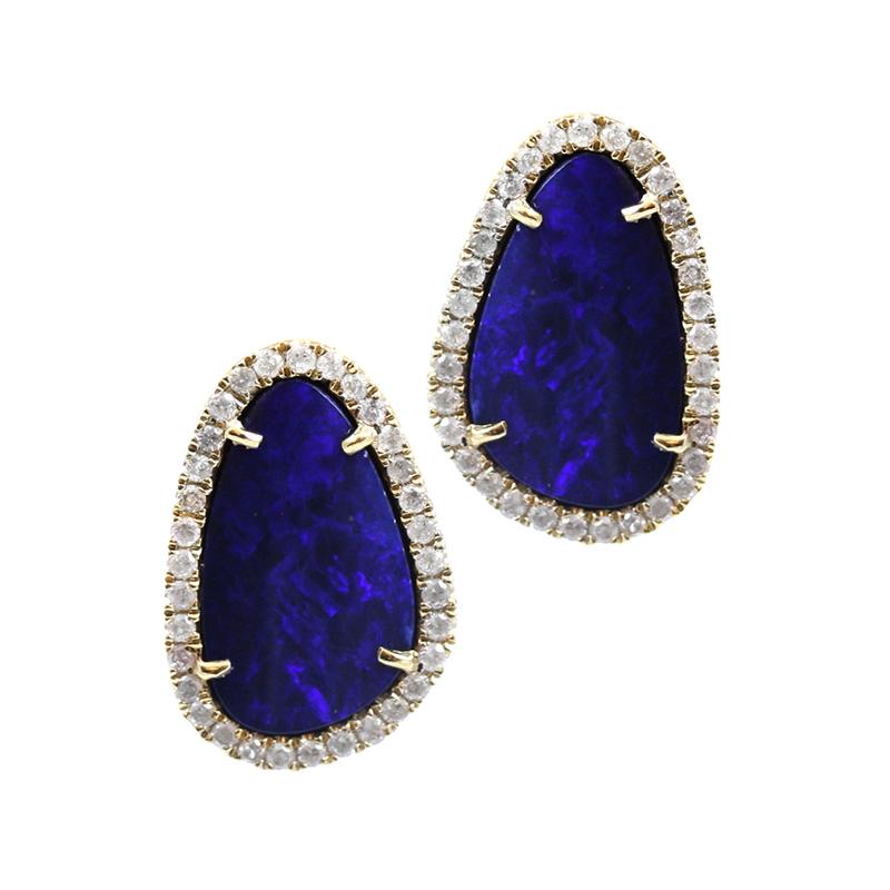18 Karat yellow gold diamond and boulder opal stud earrings