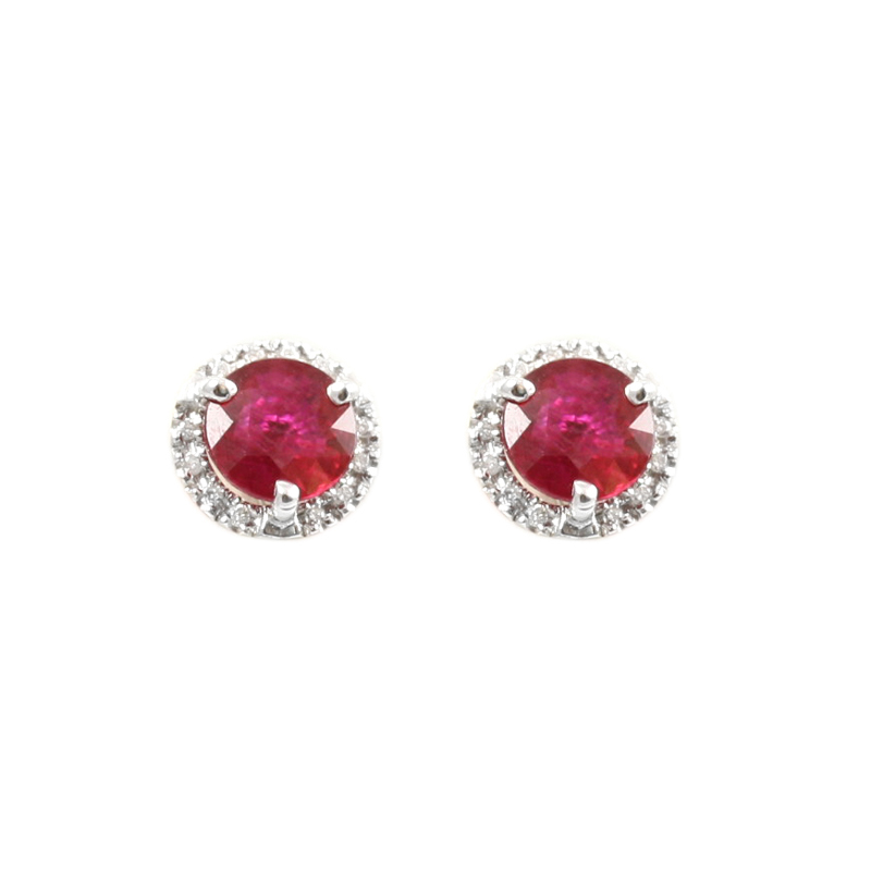 18 Karat white gold Ruby and diamond stud earrings.