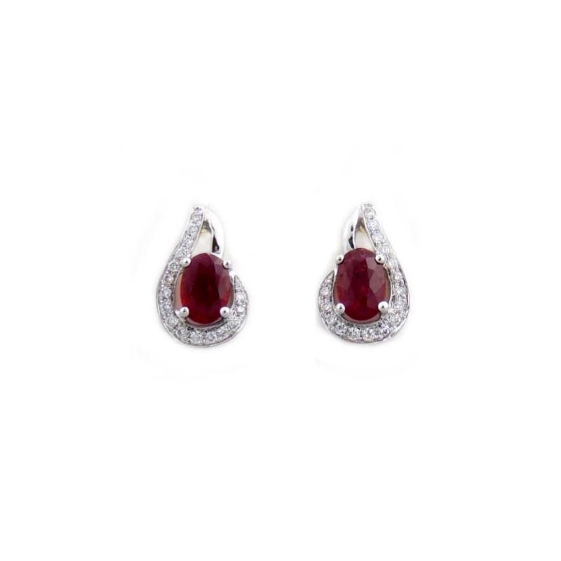 14 Karat White Gold Oval Ruby and Diamond Earrings