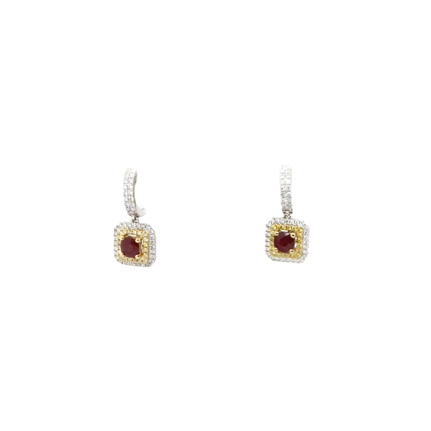 18 Karat White Gold Ruby, Fancy Yellow, and White Diamond Dangle Earrings