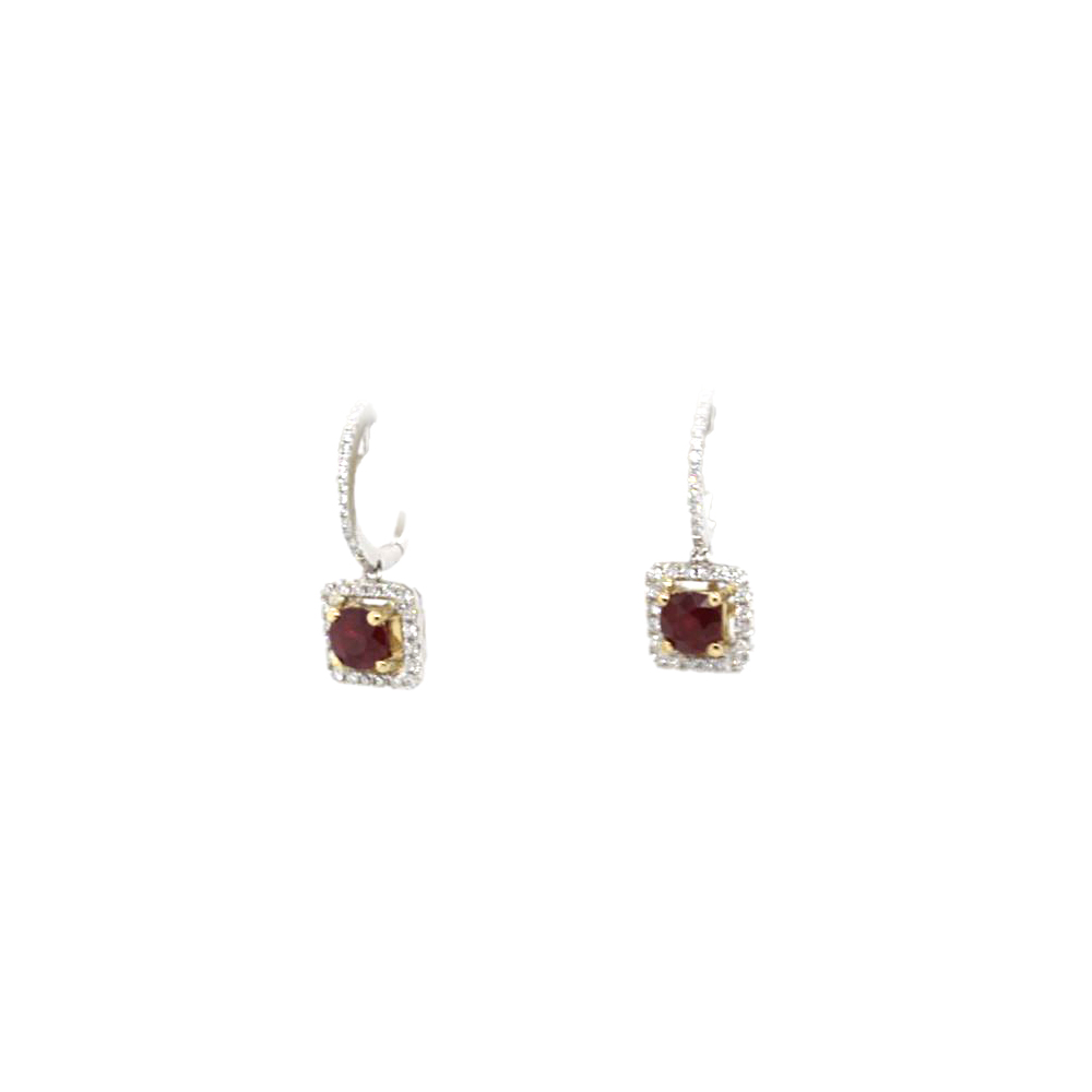 18 Karat White Gold Ruby and Diamond Square Dangle Earrings