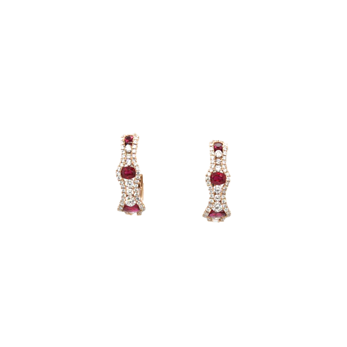 14 Karat Rose Gold Ruby and Diamond Huggie Earrings