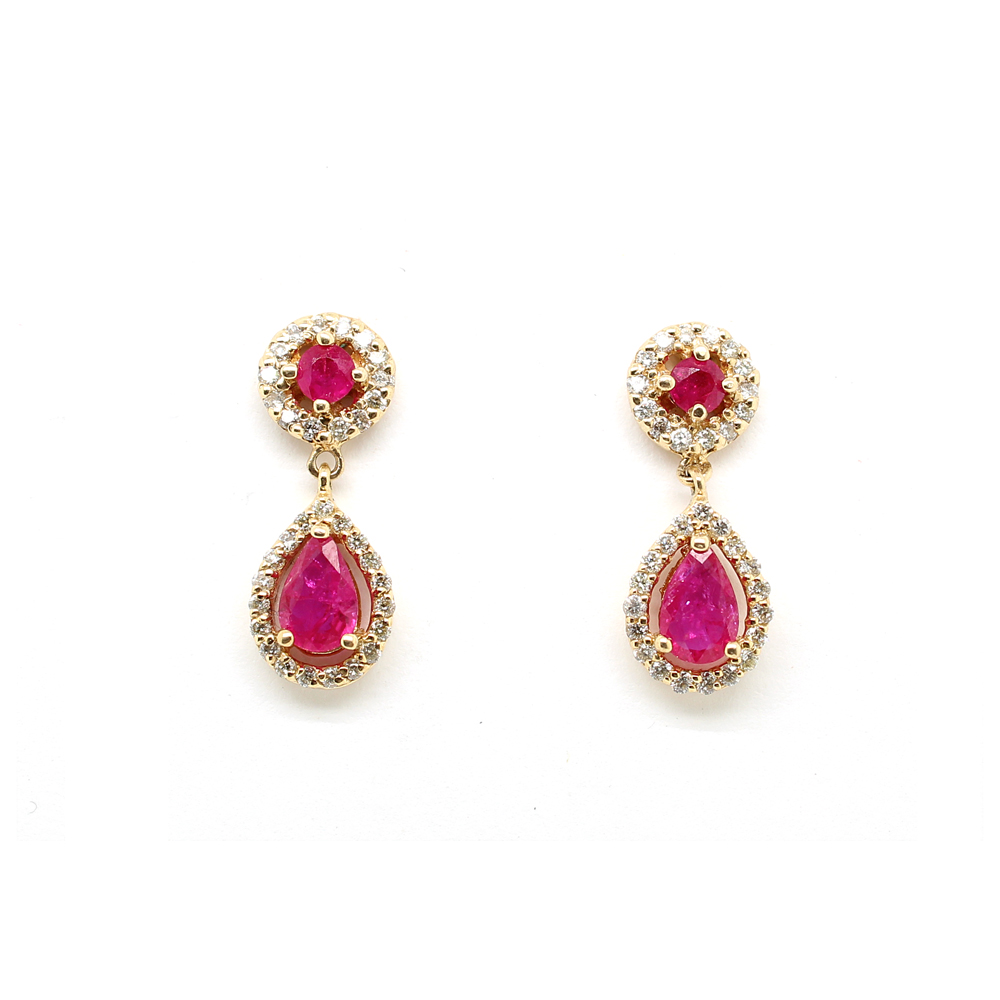 Ryan Gems 14 Karat Yellow Gold Ruby and Diamond Dangle Earrings