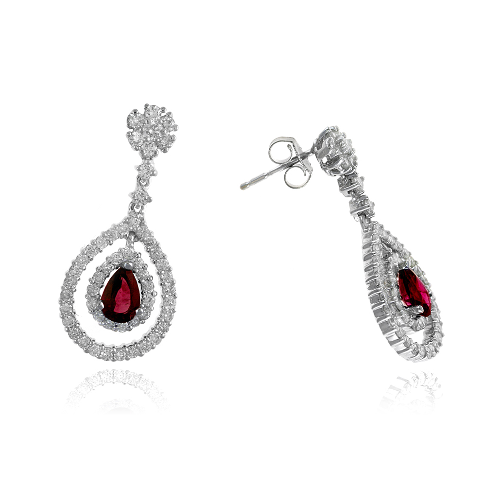 Ryan Gems 14 Karat White Gold Ruby and Diamond Dangle Earrings