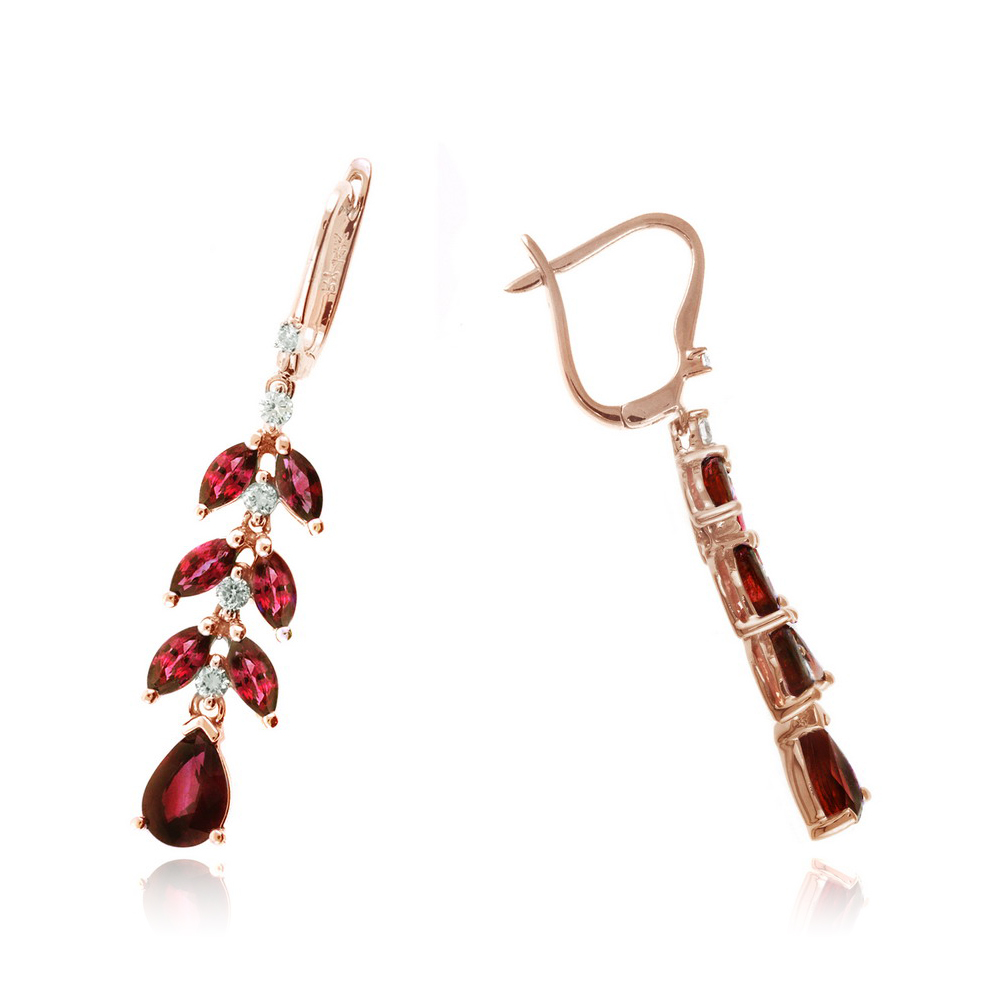 Ryan Gems 14 Karat Rose Gold Ruby and Diamond Floral Dangle Earrings