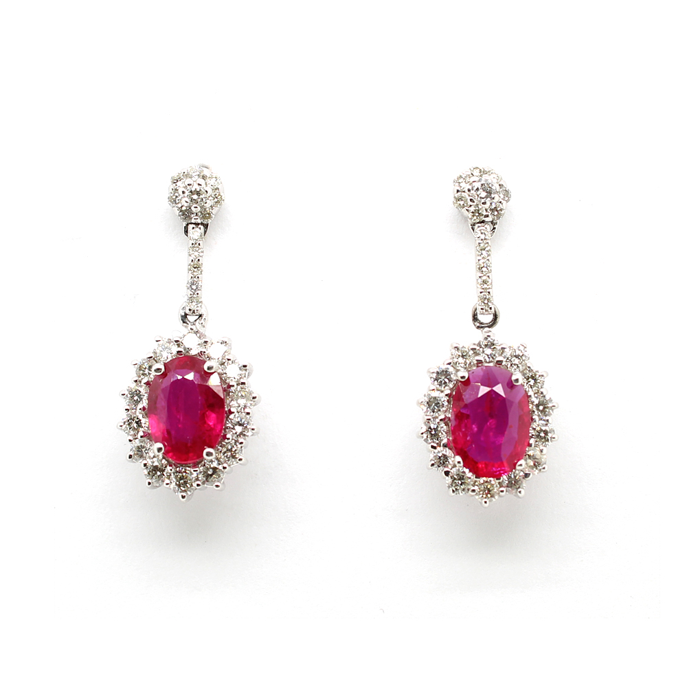 Ryan Gems 14 Karat White Gold Ruby and Diamond Earrings