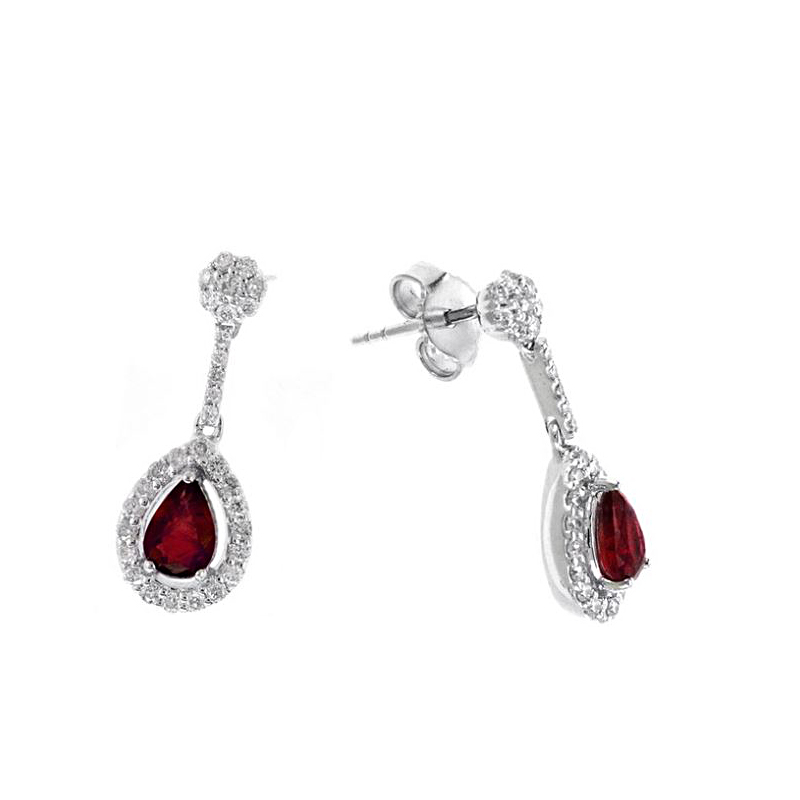 Ryan Gems 14 Karat White Gold Ruby and Diamond Earrings
