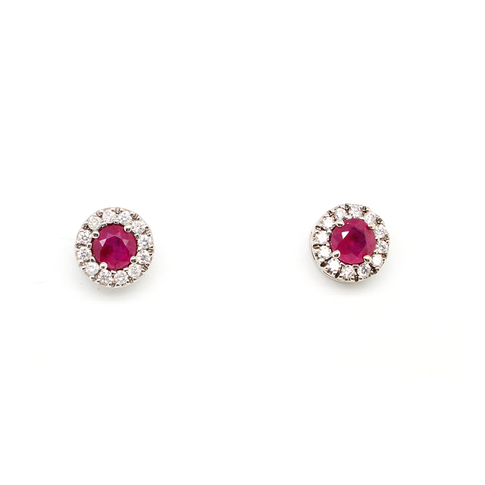 Ryan Gems 14 Karat White Gold Ruby and Diamond Stud Earrings