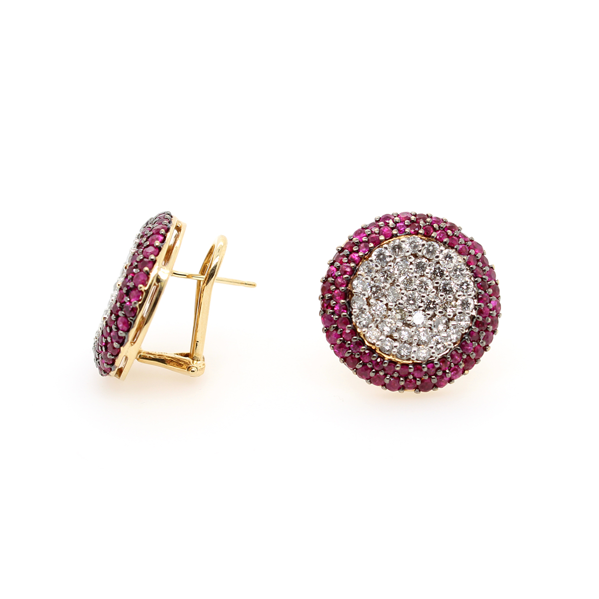 Ryan Gems 14 Karat Rose Gold Round Ruby and Diamond Stud Earrings