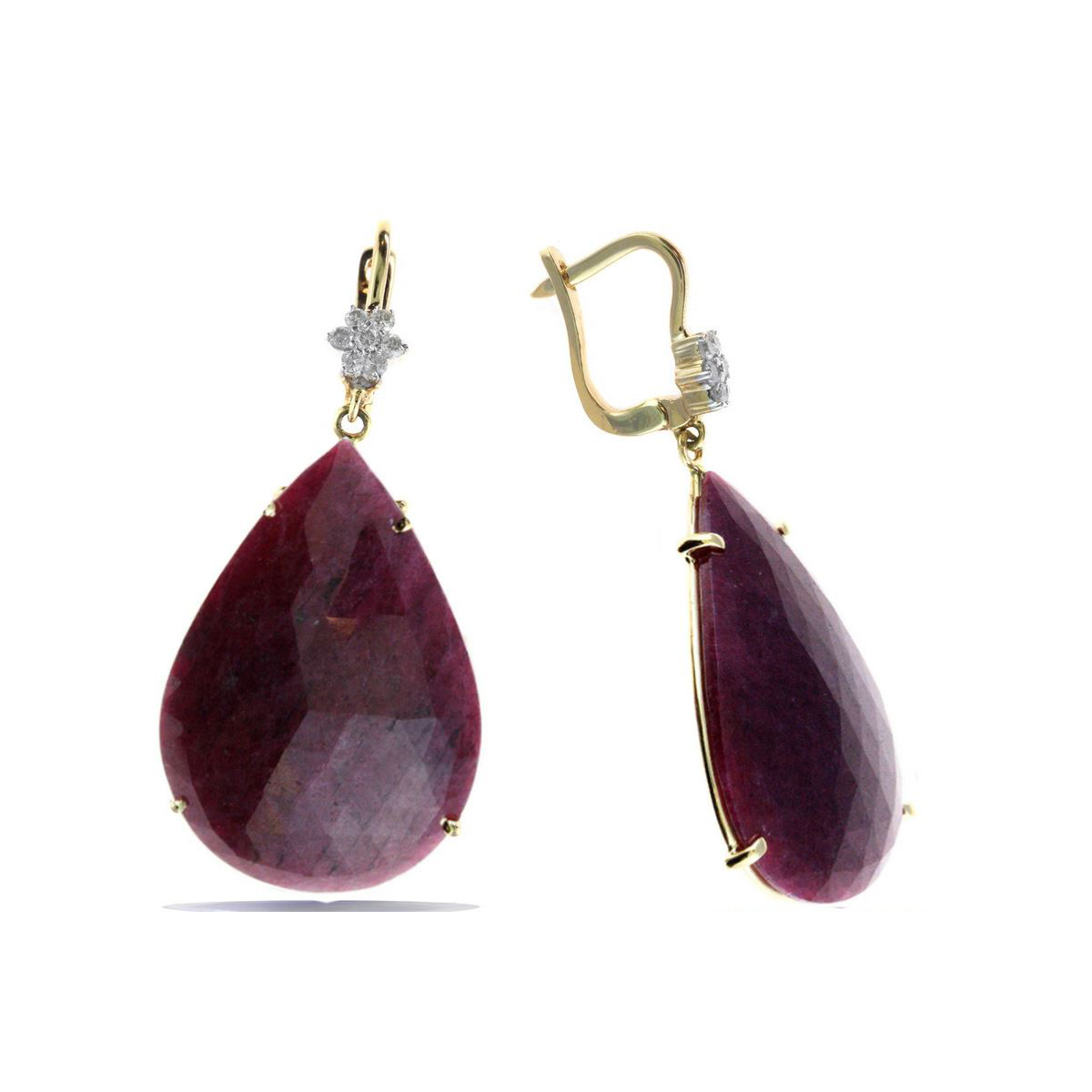 Ryan Gems 14 Karate Rose Gold Pear Shaped Slice Ruby and Diamond Earrings