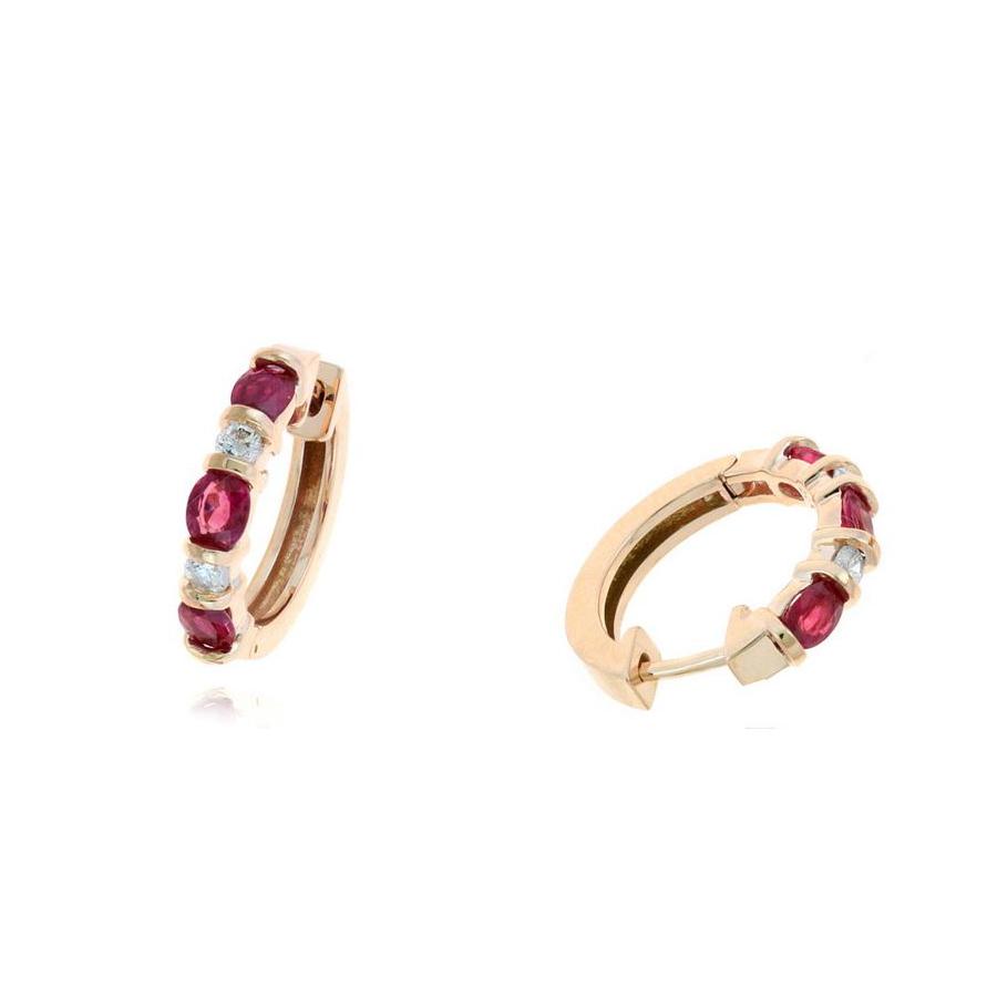 Ryan Gems 14 Karat Rose Gold Oval Ruby and Diamond Huggie Earrings