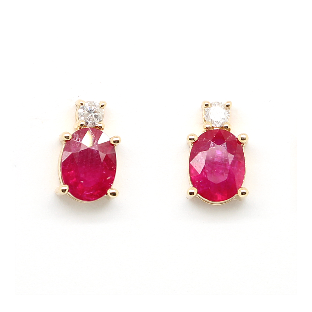 Ryan Gems 14 Karat Rose Gold Oval Ruby and Diamond Earrings