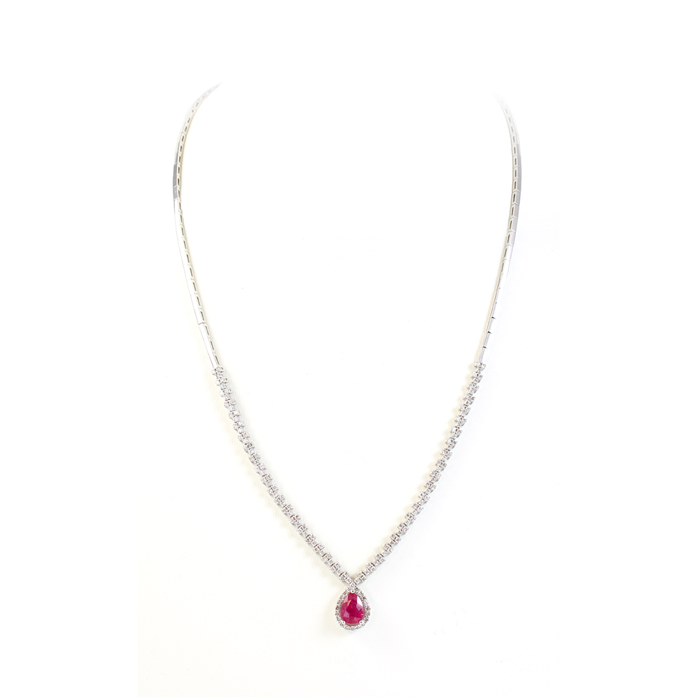 Ryan Gems 14 Karat White Gold Ruby and Diamond Necklace