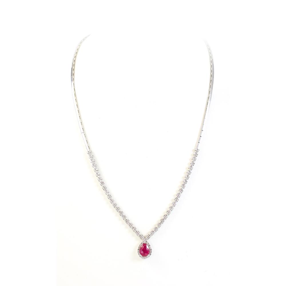 Ryan Gems 14 Karat White Gold Ruby and Diamond Necklace