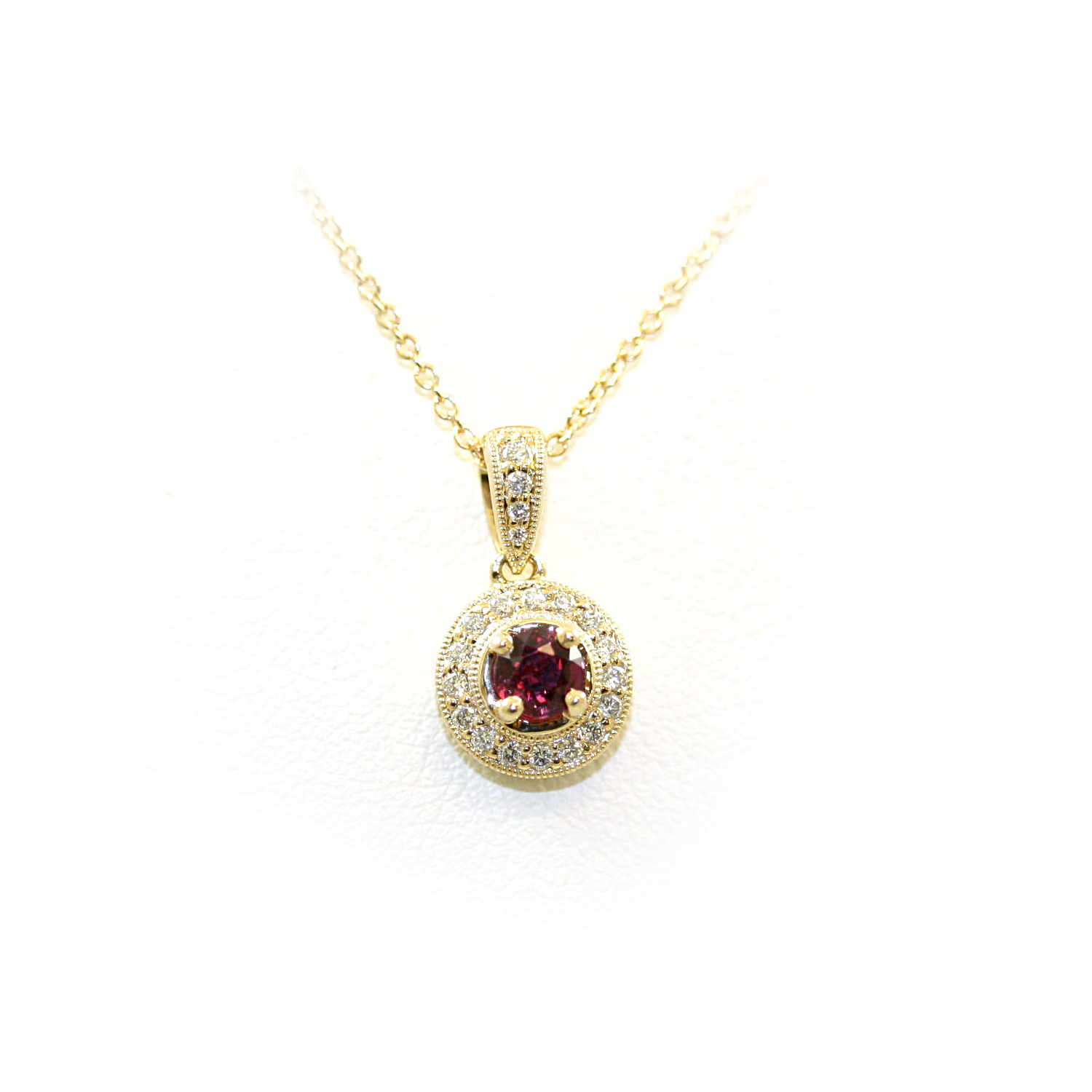 14 Karat Yellow Gold Ruby and Diamond Pendant Necklace