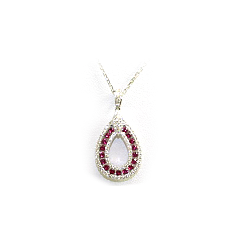 18 Karat White Gold Pear Shaped Ruby and Diamond Pendant necklace
