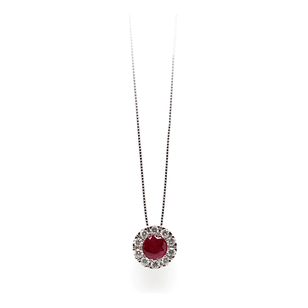 Paramount Gems 14 Karat White Gold Ruby and Diamond Circle Pendant Necklace