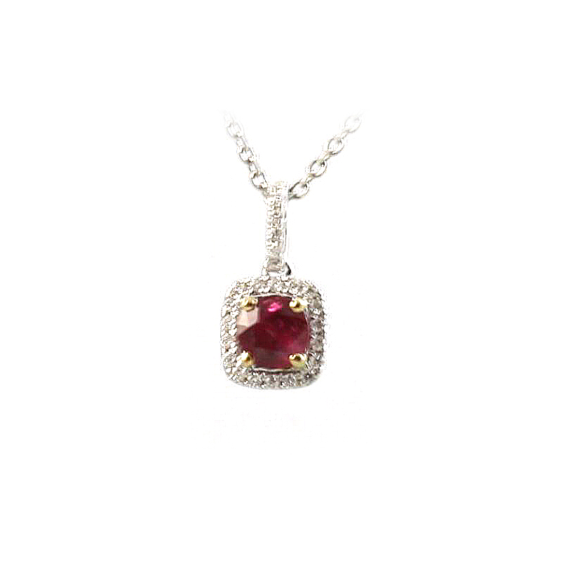 18 Karat White Gold Ruby and Diamond Square Pendant Necklace
