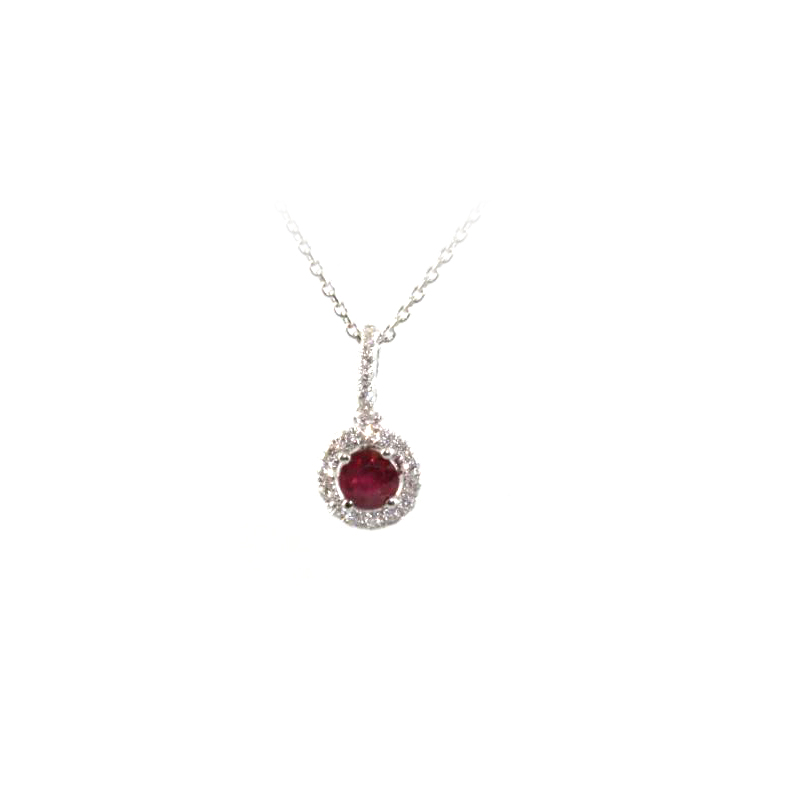 18 Karat White Gold Ruby and Diamond Round Pendant Necklace